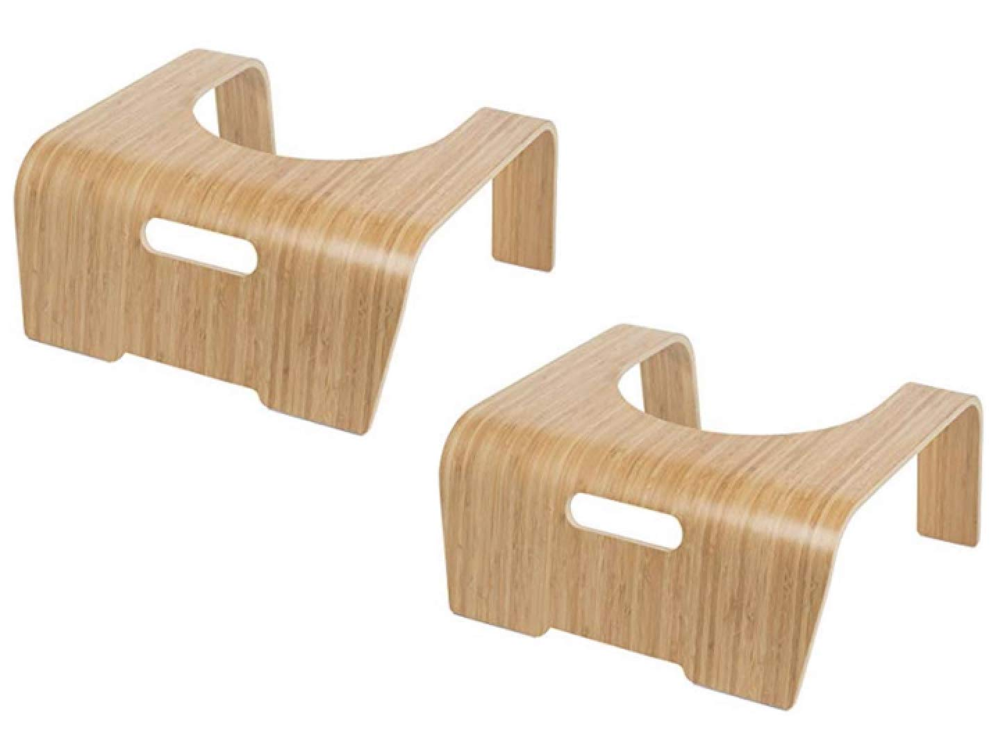 ToiletTree Products Original 100% Natural Bamboo Wood Bathroom Toilet Stool, 8.5 inch Height (2 Pack)