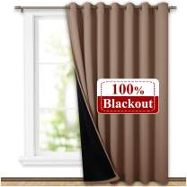 NICETOWN Thermal Insulated 100% Blackout Curtain, Absorb Noise Grommet Slider Curtain Panel with Black Lining, Full Light Blocking Patio Door Panel (1 PC, 100 inches x 95 inches, Taupe)