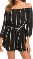 TOP-MAX Rompers for Women, Boat Neck Off The Shoulder Strapless Mid Rise Casual Jumpsuit w Belt - Beachwear Bodice Shorts