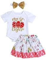 My 1st Easter Outfit Baby Girl Short Sleeve Eggs Romper +Floral Skirt with Headband 3PC Clothes Set