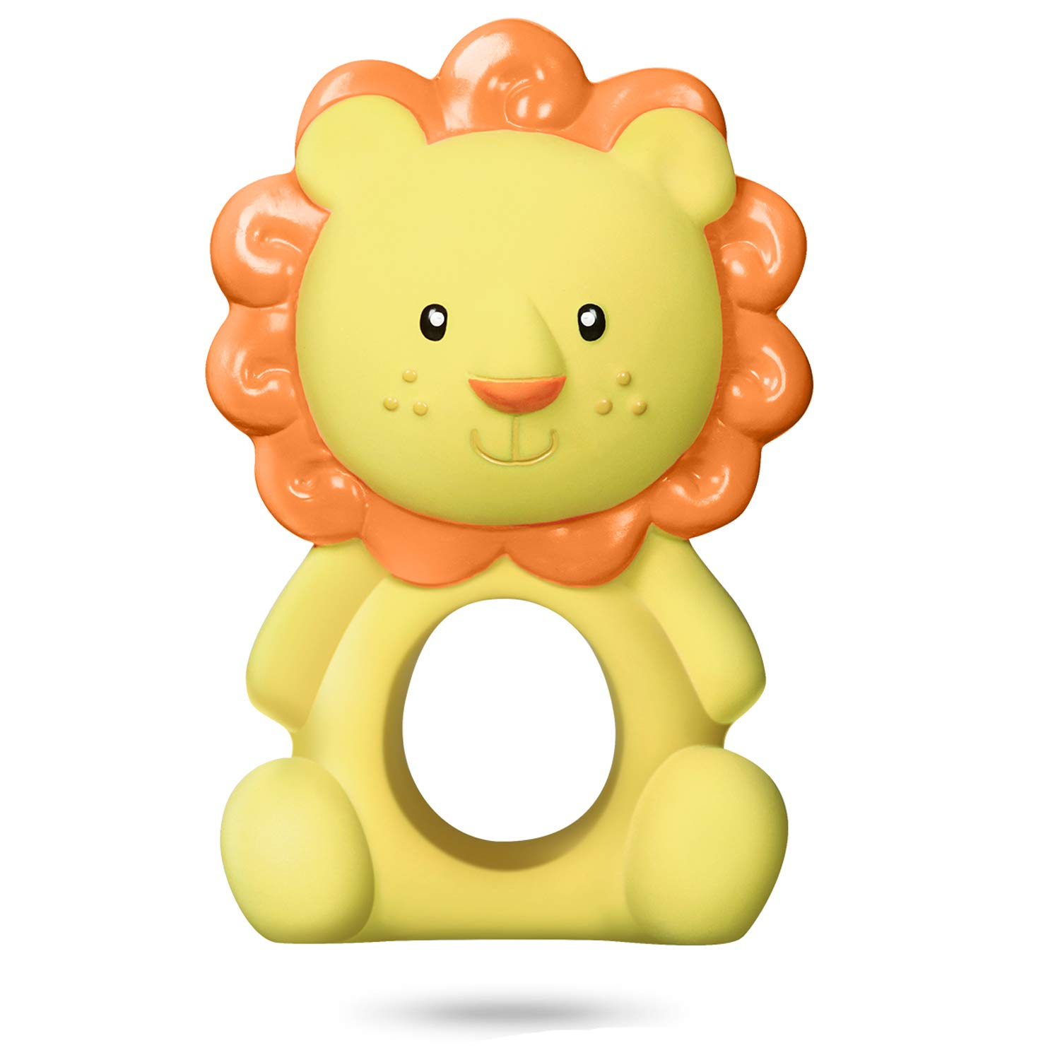 CALLMYBO Cute Lion Teether Teething Toy, Lion Toy for Baby BPA-Free Silicone Free Teething Toys 100% Natural Rubber Teether, Freezable and Dishwasher-Safe