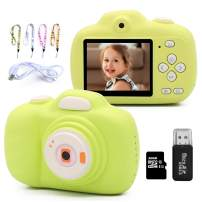 MARUMINE Kids Camera, 12.0MP Digital Camera with Dual Lens, 1080P HD Video, 2.3 Inch LCD Screen, 32GB SD Card Included, Selfie Camera for 3-10 Years Old Kids Boys and Girls (Green)