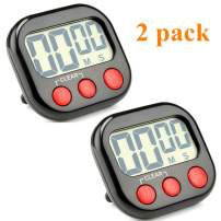 Digital Kitchen Timer Big LCD Screen Loud Alarm Strong Magnetic Back and Stand Minute Seconds Count Up Countdown and Simple Operation For Homework Game Exercise Kids Cooking Timers (Black+Red, 2 Pack)