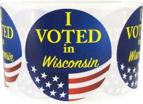 I Voted in Wisconsin Stickers for Election Day 2.5 Inch Round Circle Dots 500 Total Adhesive Stickers