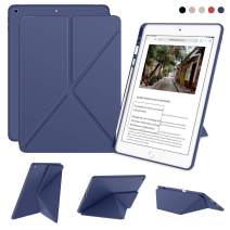 DTTO iPad 7th Generation Case with Pencil Holder, [Flexible Series] Multiple Position Stand Cover Case Soft TPU Back for iPad 10.2 inch 2019 [Auto Sleep/Wake], Navy Blue