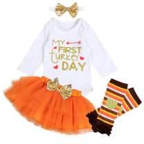 Yoveme Baby Girl First Thanksgiving My 1st Thanksgiving Romper Top Tutu Skirt with Leg Warme Headband Outfit Set