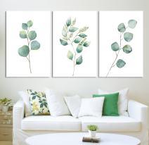 "wall26 - Tropical Plant Leaves - Canvas Art Wall Decor - 16""x24"" x 3 Panels"