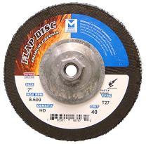 "Mercer Industries 263H040 Zirconia Flap Disc, High Density, Type 27, 7"" x 5/8"" 11 Thread, Grit 40, 10 Pack"