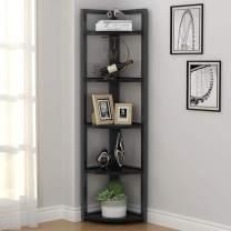 Tribesigns 5 Tier Corner Shelf, Corner Storage Rack Plant Stand Small Bookshelf for Living Room, Home Office, Kitchen, Small Space (Black)