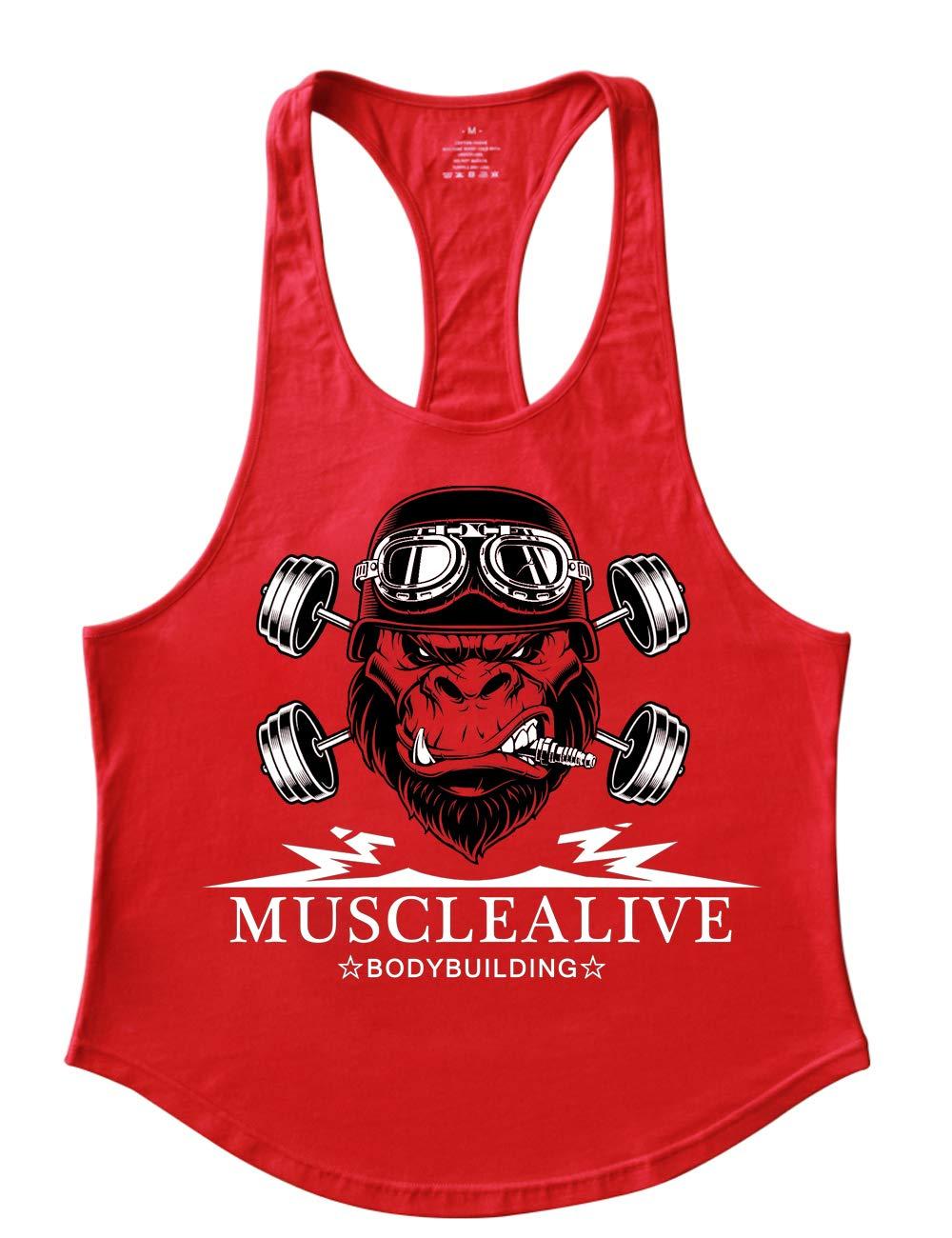 GYMAPE Mens Stringer Gym Bodybuilding Tank Tops Cotton for Workout with Arch Hem