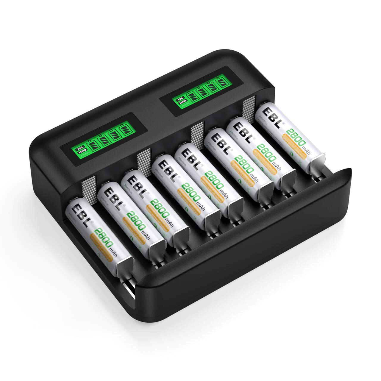 EBL AA Rechargeable Batteries Ni-MH 2800mAh (8Pcs) and Individual Battery Charger with LCD Display for Rechargeable AA AAA C D Batteries