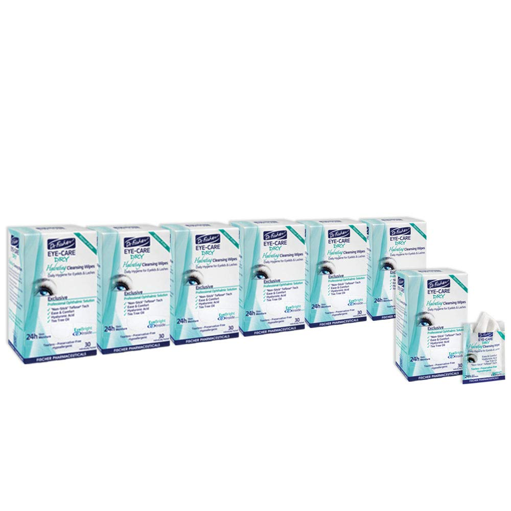 Dr. Fischer Daily hygienic & hydrating eyelid wipes- Complementary aid for dry eye syndrome & cleanse the eye area of ocular secretions. Moisture enriched (6 Packs, 30 Wipes each)