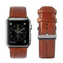 yearscase 42MM Retro Vintage Genuine Leather iWatch Strap Replacement Compatible Apple Watch Band Series 3 Series 2 Series 1 Nike+ Hermes&Edition - Reddish Brown