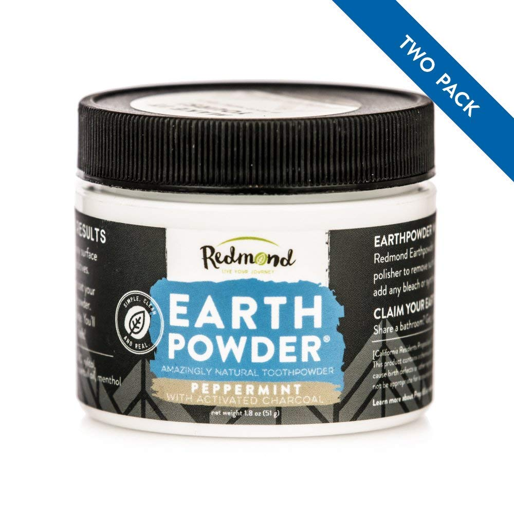 Redmond Earthpowder, All Natural Tooth and Gum Powder Bentonite Clay and Charcoal Teeth Whitener (2 Pack)