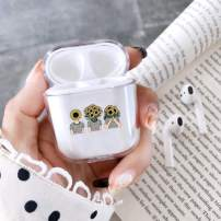 fuinhi Clear Hard Plastic Case Full Protective Cover Skin Compatible with AirPods 2 & 1 (Sunflower)
