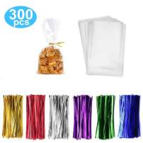 "300 Pack Clear Candy Bags Clear Cellophane Bags 2""x10"" Cookie Bags With 3.1"" Twist Ties 6 Mix Colors - 1.4mils Thickness OPP Plastic Bags for Wedding Birthday Cake Pops Gift Supplies(5""x7"")"