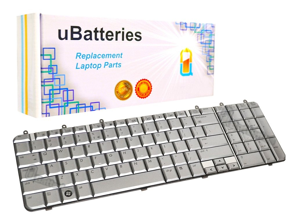 UBatteries Compatible Laptop Keyboard Replacement for HP Pavilion DV7-1000 DV7-1100 DV7-1200 506120-001 506121-001 483275-001 LKB-HC27S - Silver/Small Enter Key