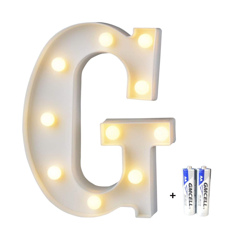 bemece LED Alphabet Letter Lights, Marquee Decorative Warm Plastic Light up Sign (Battery Included)- Letter G