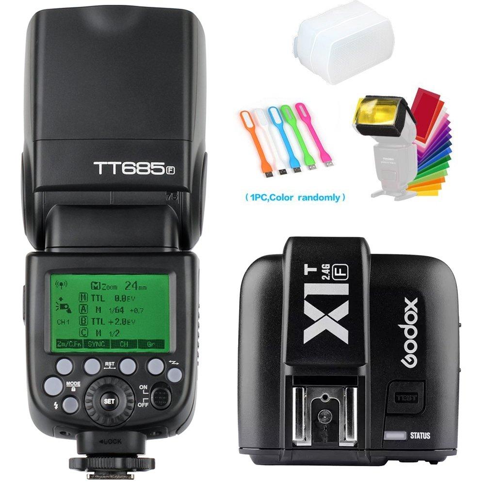 Godox TT685F TTL 2.4G GN60 High-Speed Sync 1/8000S Camera Flash Speedlite Light with Godox X1T-F Wireless Trigger Transmitter Compatible for Fujifilm Camera & Diffuser & Filter &USB LED