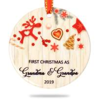 Creawoo First Christmas As Grandma & Grandpa 2019, Grandparents Xmas Present, Housewarming Gift Xmas Tree Decoration, Unique Christmas Ceramic Ornament