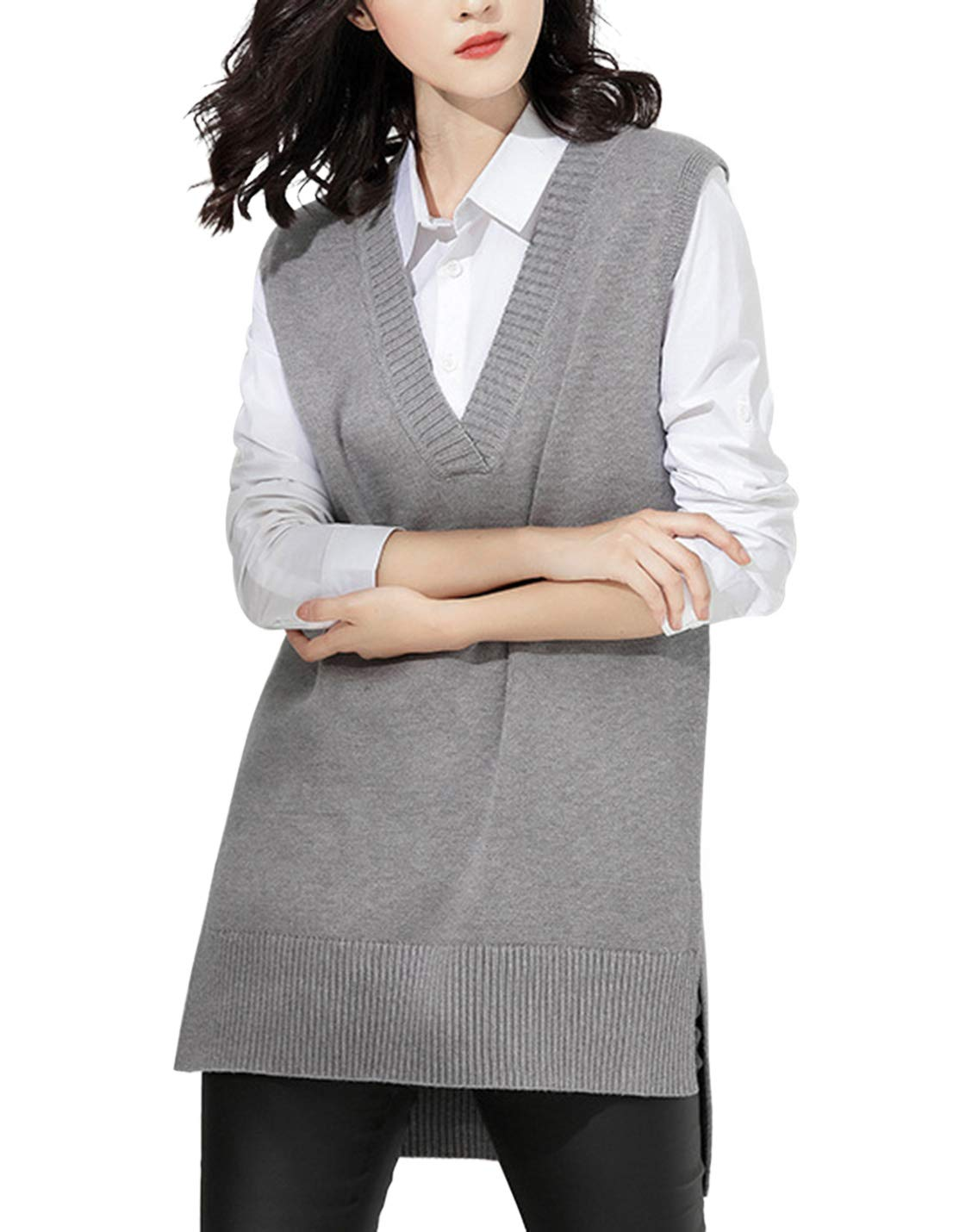 Gihuo Women's Casual V Neck Knitted Pullover Sleeveless Sweater Vest