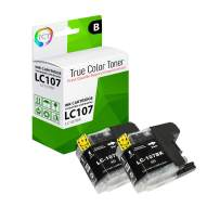 TCT Compatible Ink Cartridge Replacement for Brother LC107 LC107BK Black Works with Brother MFC-J4310DW J4410DW J4510DW J4610DW J4710DW J6520DW Printers (1,200 Pages) - 2 Pack