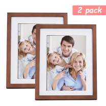 Lamberia Picture Frames Made of Solid Wood High Definition Glass for Table Top Display and Wall Mounting Photo Frame (Nut Brown, 5x7 inch)