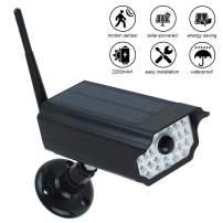 INDARUN Camera-like Solar Motion Sensor Spotlight, Waterproof 30LED 2200mAh Outdoor Security Lamp with 360° Rotatable Spherical Bearing & 3 Lighting Modes for Garden Porch Farm Garage Yard - Black