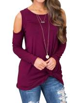 LOMON Women's T-Shirt Casual Cold Shoulder Tunic Tops Loose Blouse Round Neck Shirts