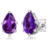 Gem Stone King 925 Sterling Silver Genuine Natural Amethyst Stud Earrings For Women (2.00 Ct Pear Shape 8X5MM)