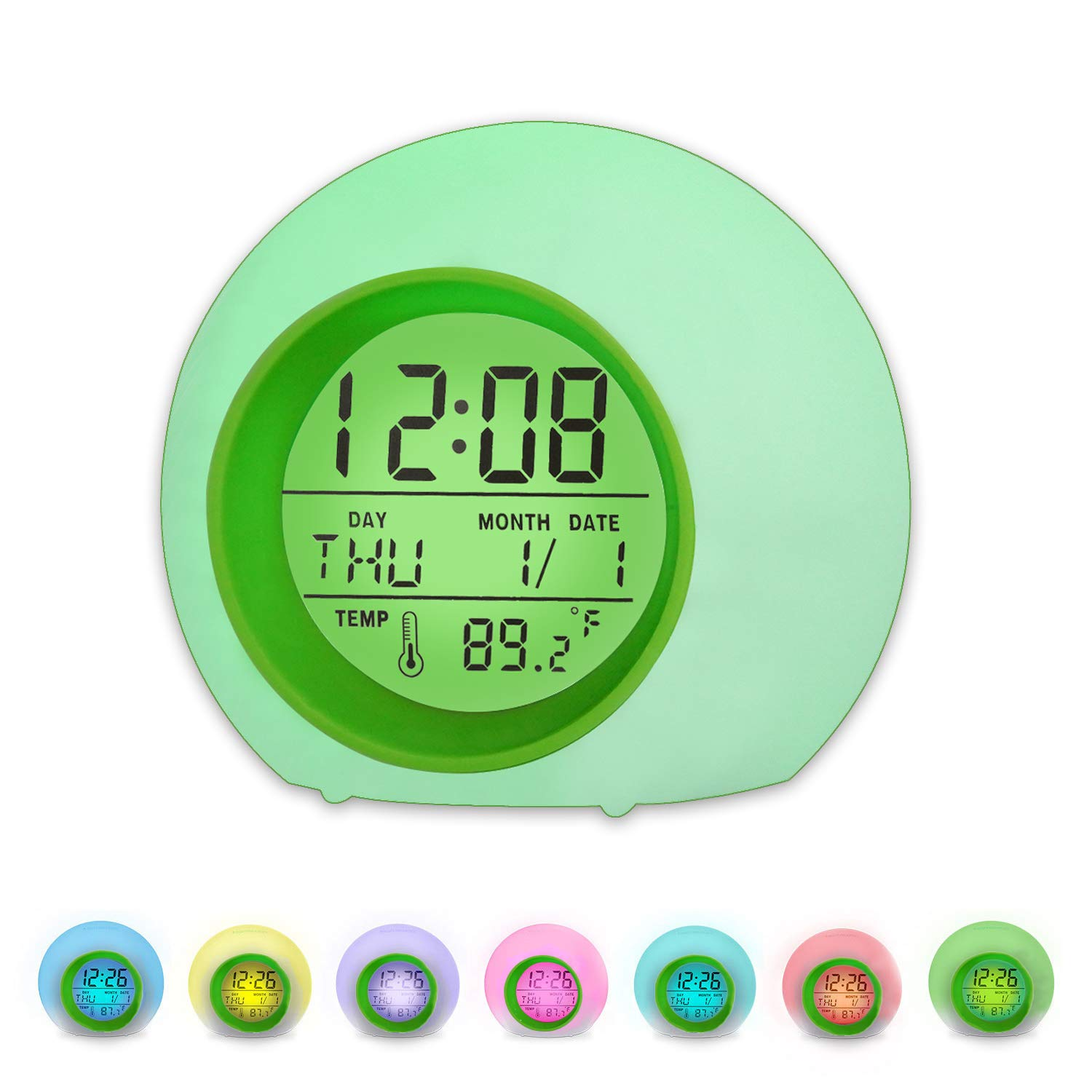 BZ Alarm Clock for Kids, 7 Colors Changing, LED Digital, Round, Battery, Temperature Detect, One Tap Control, Alarm Setting, Snooze, 12/24 H, for Kids, Home(Green)