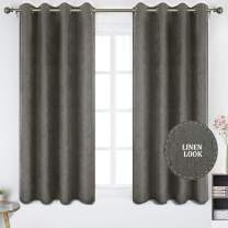 HOMEIDEAS Linen Textured Curtains 52 x 63 Inch Length 2 Panels Falling Star Faux Linen Window Curtains Grommet Linen Drapes for Bedroom and Living Room, Dark Gray