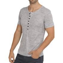 WULFUL Men's Casual Slim Fit Henley Short Sleeve Shirt Lightweight Basic Summer T-Shirt