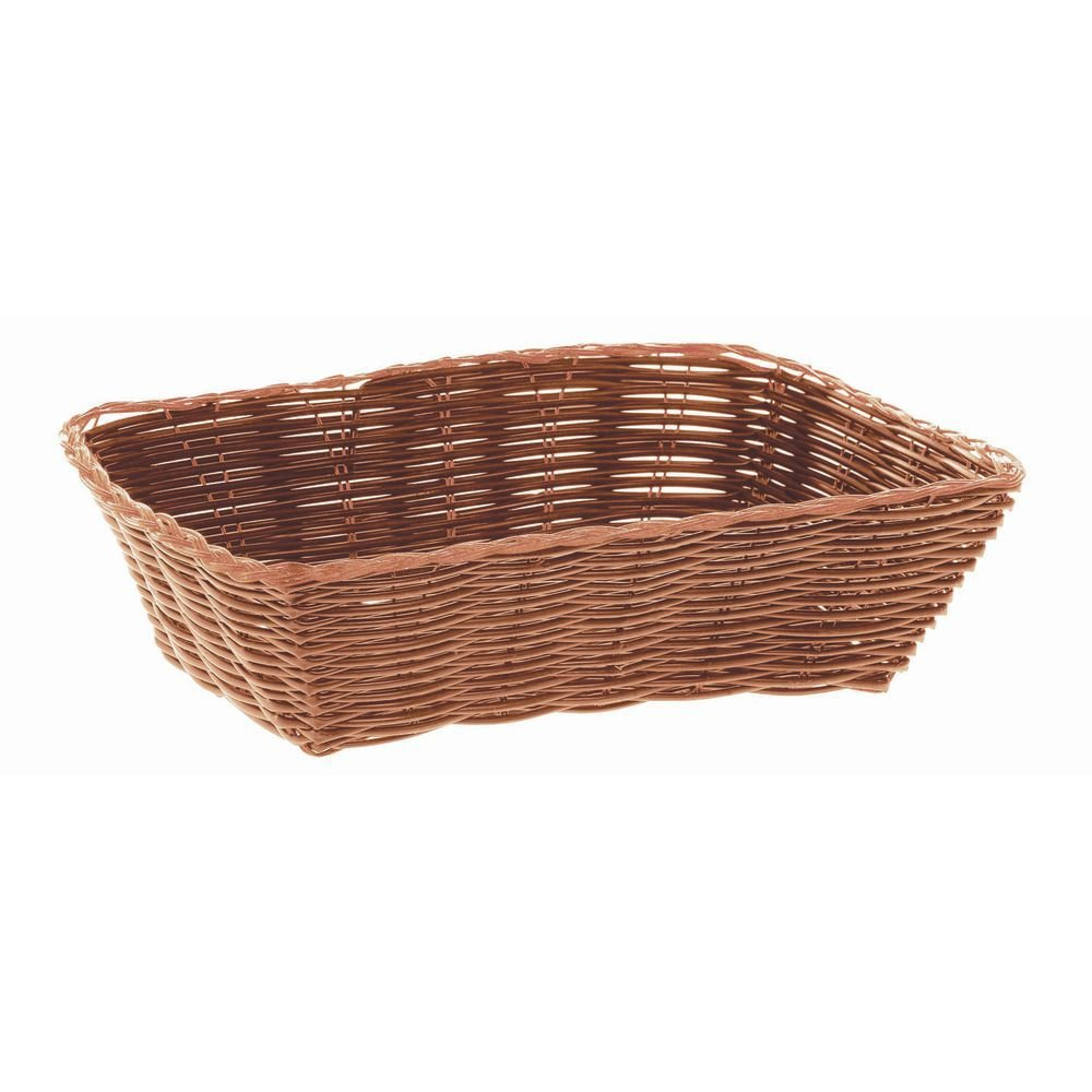 "HUBERT Bread Basket Brown Wicker Rectangular - 9"" L x 6"" W x 2 3/8 H"