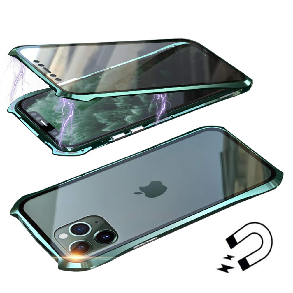 Anyos Compatible iPhone 11 Case, Ultra-Thin Magnetic Adsorption Metal Frame Clear Tempered Glass Flip Cover Built-in Screen Protector, (Dark Green)