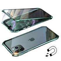Anyos Compatible iPhone 11 Pro Case, Ultra-Thin Magnetic Adsorption Metal Frame Clear Tempered Glass Flip Cover Built-in Screen Protector, (Dark Green)