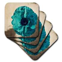 3dRose cst_37943_1 Teal Poppy-Flowers-Art-Nature-Soft Coasters, Set of 4
