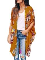 Ivay Womens Floral Kimono Duster Cardigans Short Sleeve Draped Oversized Beach Cover Up Cape