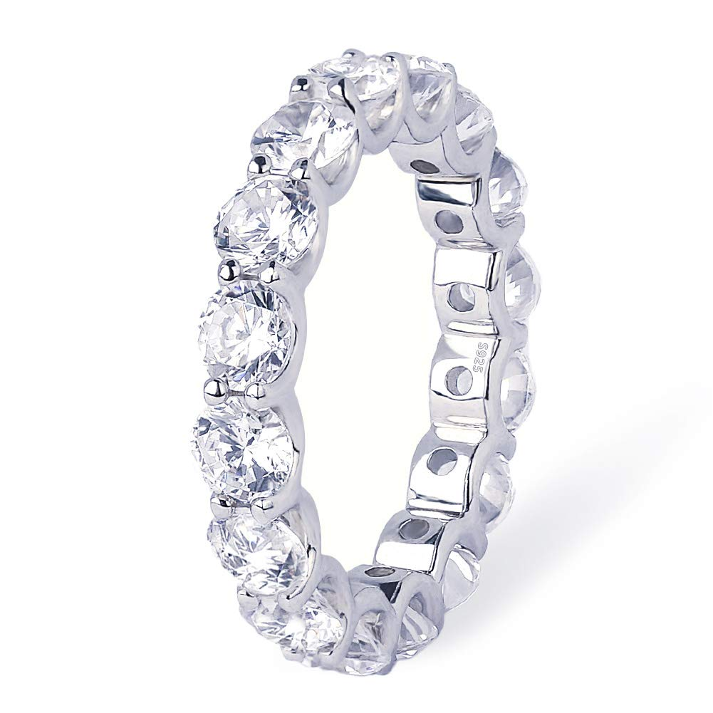 KRKC&CO White Gold Ice Out Tennis Rings, 925 Sterling Silver Single-Row CZ Rings, Prong-Setting 5A CZ Stone Rings, Solid No Tarnish Urban Street-wear Hip Hop Rings Size 6 7 8 9 10 for Party