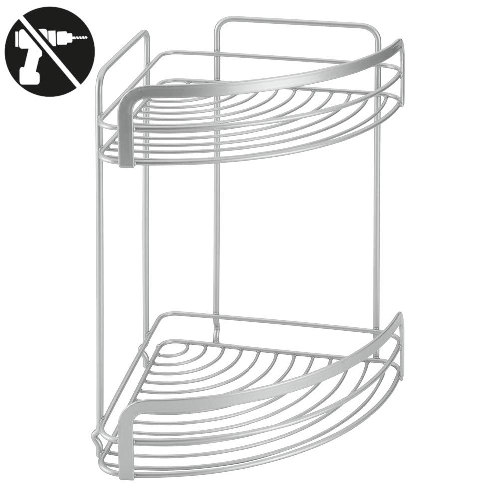 Wire World 40.48.16 Viva 2-Tier Corner Shelf with Safefix, Silver