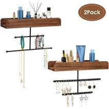 Biewoos Hanging Jewelry Organizer Wall Mounted with Rustic Wood Jewelry Holder Display for Necklaces Bracelet Earrings Ring Set of 2 (Carbonized Black)