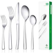 Ferfil Flatware Set, 20-Piece Cutlery / Silverware / Tableware Set Service for 4, Include Knife/Fork/Spoon, Mirror Polished, Dishwasher Safe