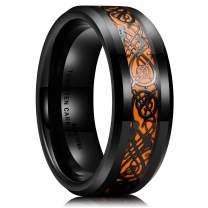 King Will Dragon 8mm Mens Celtic Dragon Tungsten Carbide Wedding Band Ring Black/Gold/Rose Gold/Blue/Opal /Green