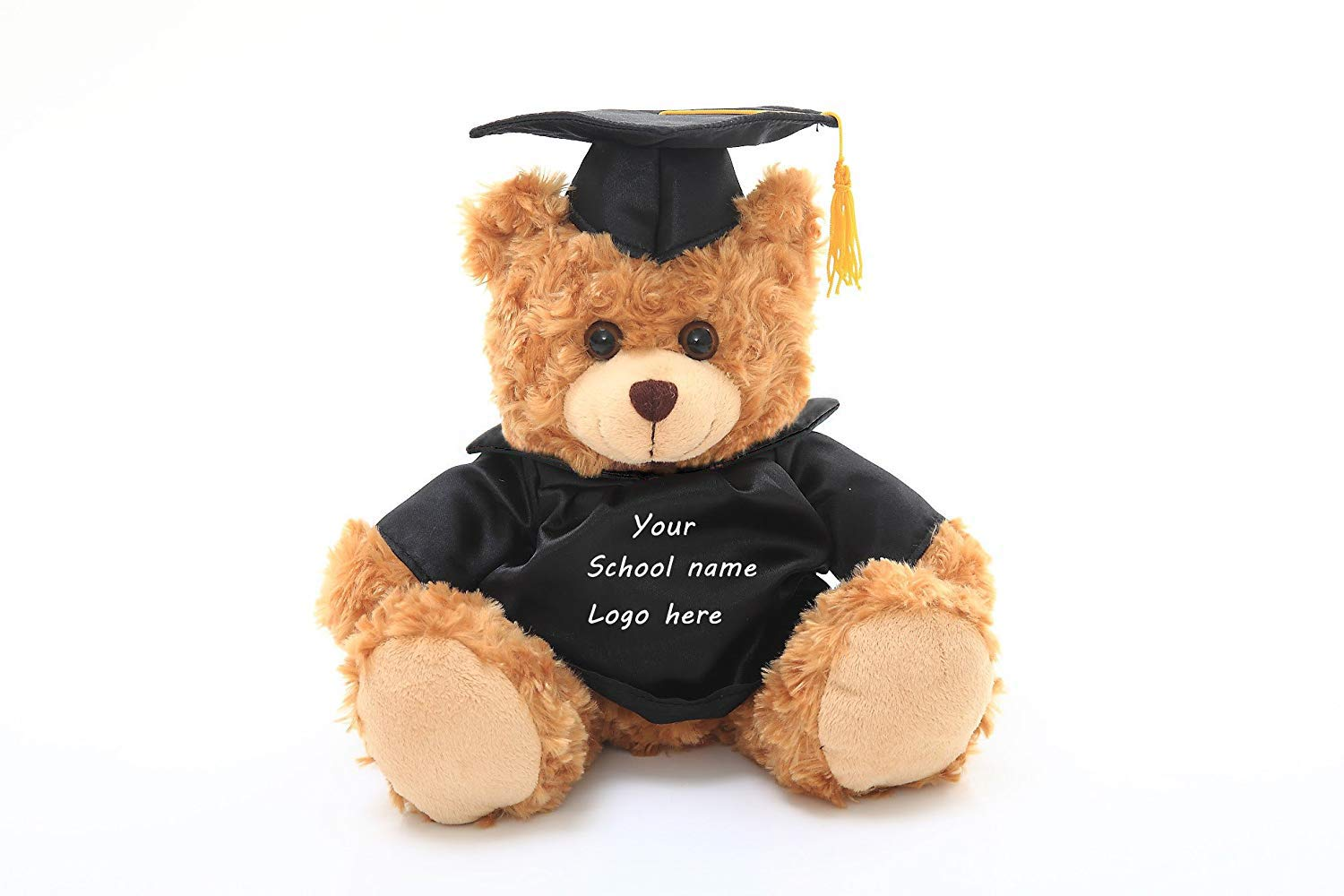 Plushland Plush Teddy Bear - Mocha Color for Graduation Day, Personalized Text, Name or Your School Logo on T-Shirt, Best for Any Grad School Kids, Boys, Girls A (6 Inches)