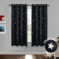 PONY DANCE Black Out Window Curtains - Cut Outs Stars Kids Room Decor for Boys Blackout Magical Fairy Drapes for Nursery Living Room, W 52 x L 63 inch, Black, 2 Pieces
