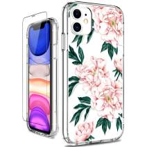 GiiKa iPhone 11 Case with Screen Protector, Clear Heavy Duty Protective Case Floral Girls Women Shockproof Hard PC Back Case with Slim TPU Bumper Cover Phone Case for iPhone 11, Pink Flowers