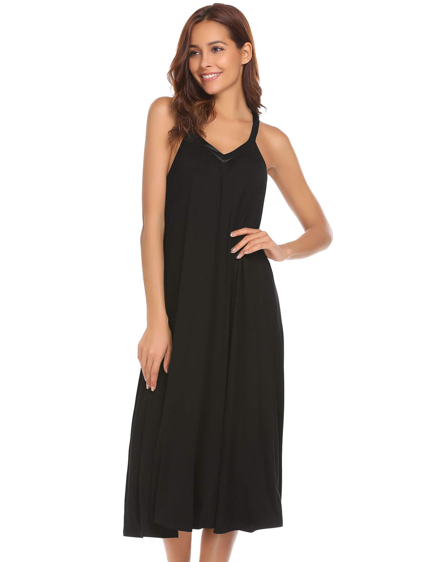 Ekouaer Women's Sleeveless Long Nightgown Slip Full Length Night Dress Soft Sleepshirt Chemise