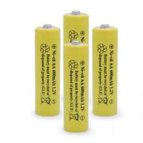 QBLPOWER Solar Light Rechargable Batteries Cell for Garden/Lawn/Sidewalk Lamp 1.2V AA Ni-CD 600mAh 2A(4 Pack AA Yellow)