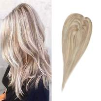Full Shine 12 Inch Hair Topper For Women With Thinning Hair Highlighted Color 18 Ash Blonde With Color 613 Blonde Real Human Hair Extensions Clip In Hair Crown Extensions Pieces