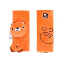 2 Pack Seat Belt Cover, Car Seat Belt Pillow for Baby, Toddlers, Infants, Baby Head Support, Safety Belt Strap Protector, Shoulder Adjuster Pad (Orange Bear)